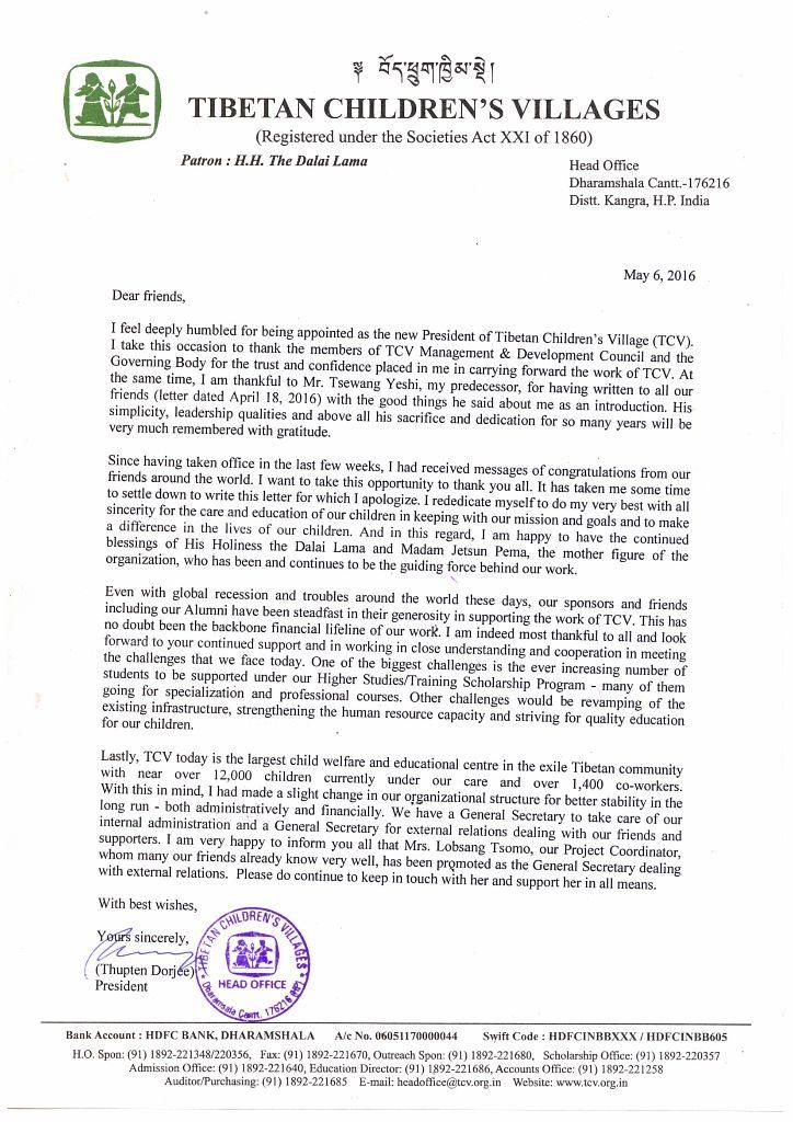 Letter from new TCV President